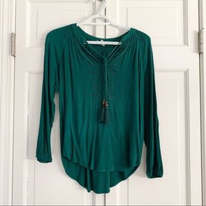 Mason & Belle Emerald Green Peasant Top XS